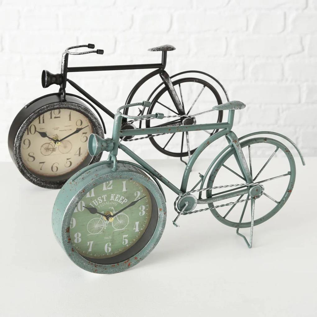 Hodiny Retro koleso, šedozelené