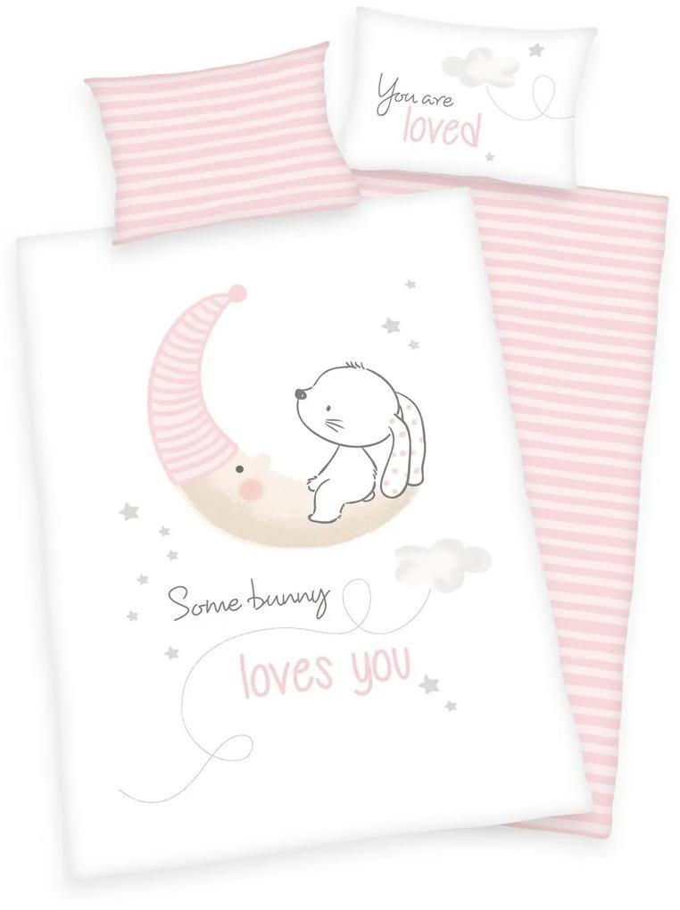 Herding Detské bavlnené obliečky do postieľky Little Bunny, 100 x 135 cm, 40 x 60 cm