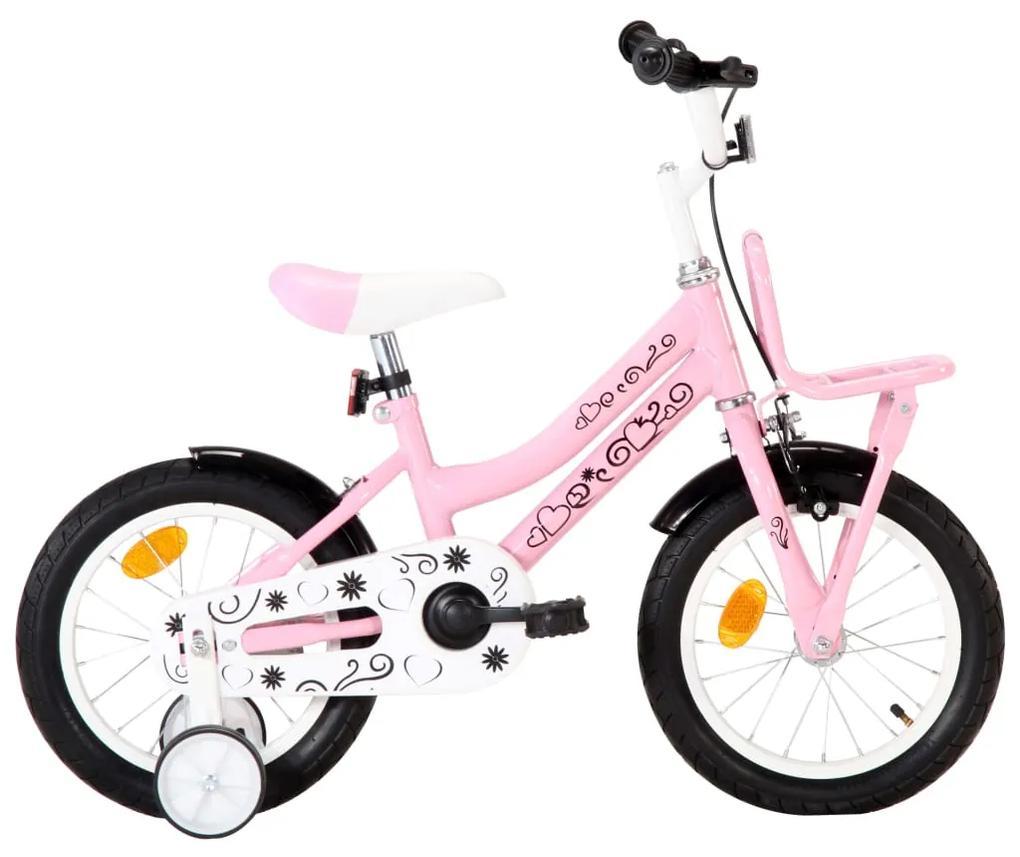 vidaXL Detský bicykel s predným nosičom 14 palcový biely a ružový