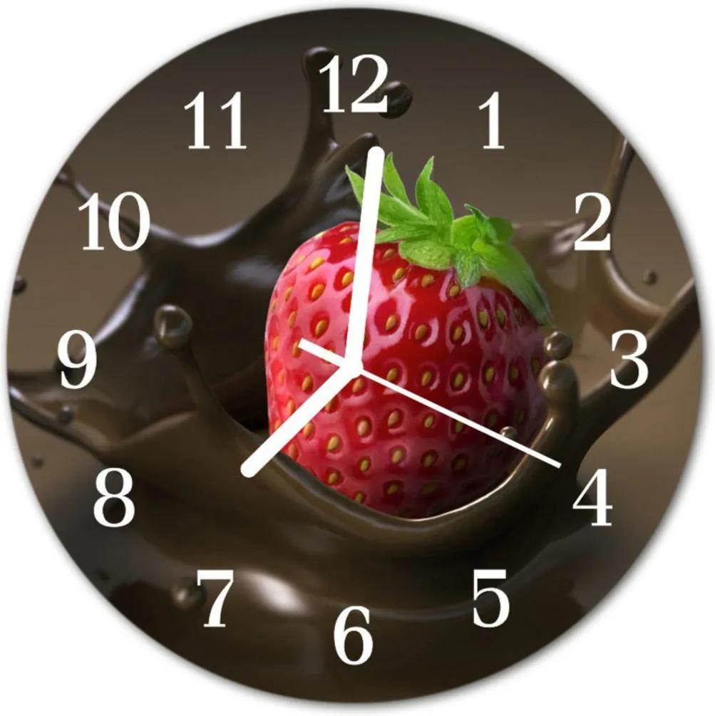 Nástenné skleněné hodiny čokoláda