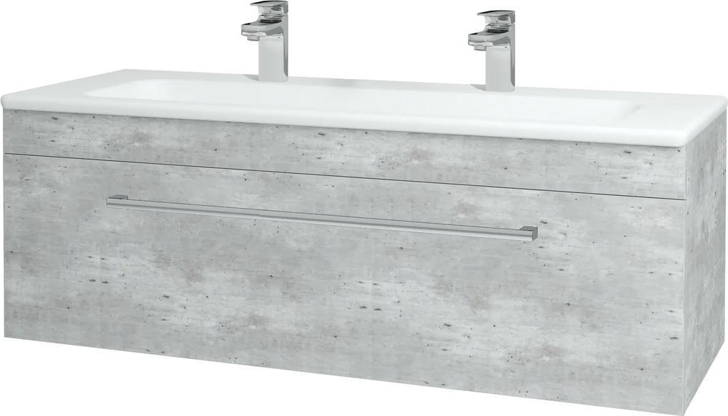 Dřevojas - Koupelnová skříň ASTON SZZ 120 - D01 Beton / Úchytka T03 / D01 Beton (131449CU)
