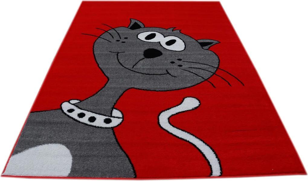 MAXMAX Detský koberec Veselá mačička - červený polypropylén červená