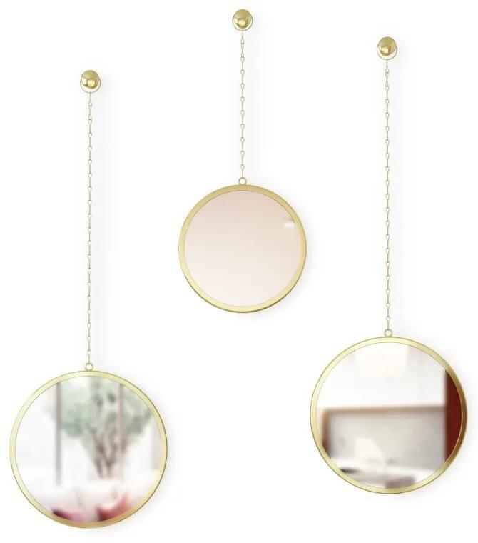 Sada 3 závesných zrkadiel na reťazi v zlatej farbe Umbra Rondo