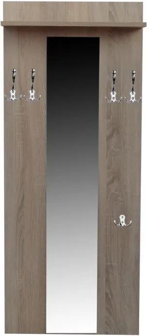 Vešiaková stena do predsiene 60 cm so zrkadlom a policou - vešiak 4+1