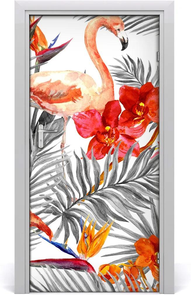 Samolepící fototapeta na dveře Flemingy a květiny
