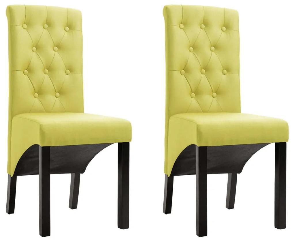vidaXL Jedálenské stoličky 2 ks zelené látkové