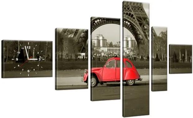 Obraz s hodinami Červené auto pred Eiffelovou vežou v Paríži 180x100cm ZP3533A_6E