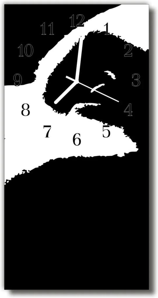 Skleněné hodiny vertikální Umění abstrakce černá