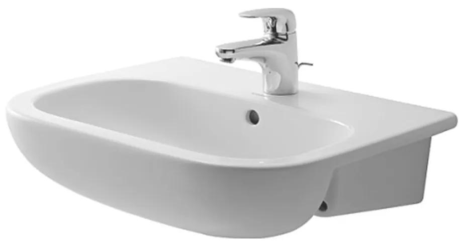 Duravit D-Code - Polozápustné umývadlo, 1 otvor pre armatúru prepichnutý, 55 x 44 mm, biele 0339550000