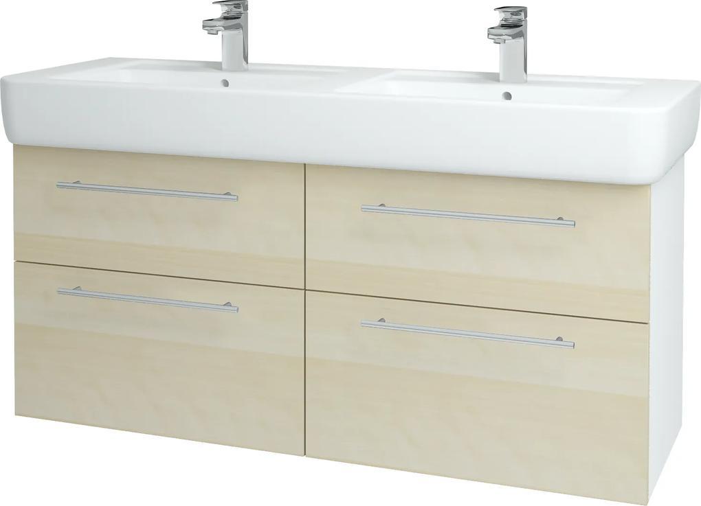Dřevojas - Koupelnová skříň Q MAX SZZ4 130 - N01 Bílá lesk / Úchytka T02 / D02 Bříza (131876B)