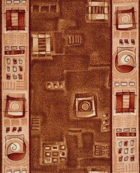 Protiskluzový běhoun na míru Zara 972 hnědá - šíře 70 cm s obšitím