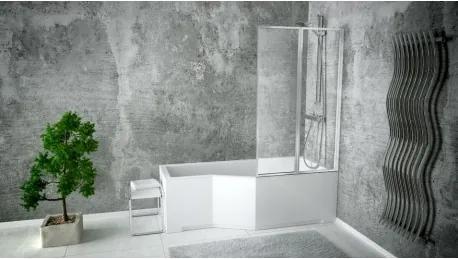 HOPA - Vanová zástěna ROSES - Leštěný hliník, 80,5 cm × 140 cm, Zalamovací, Čiré bezpečnostní sklo - 4 mm, Univerzální (BCROS2S)