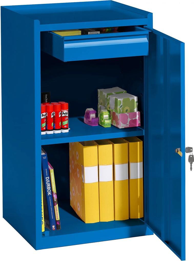 Malá kovová skrinka, 1 zásuvka, 900x500x450 mm, modrá