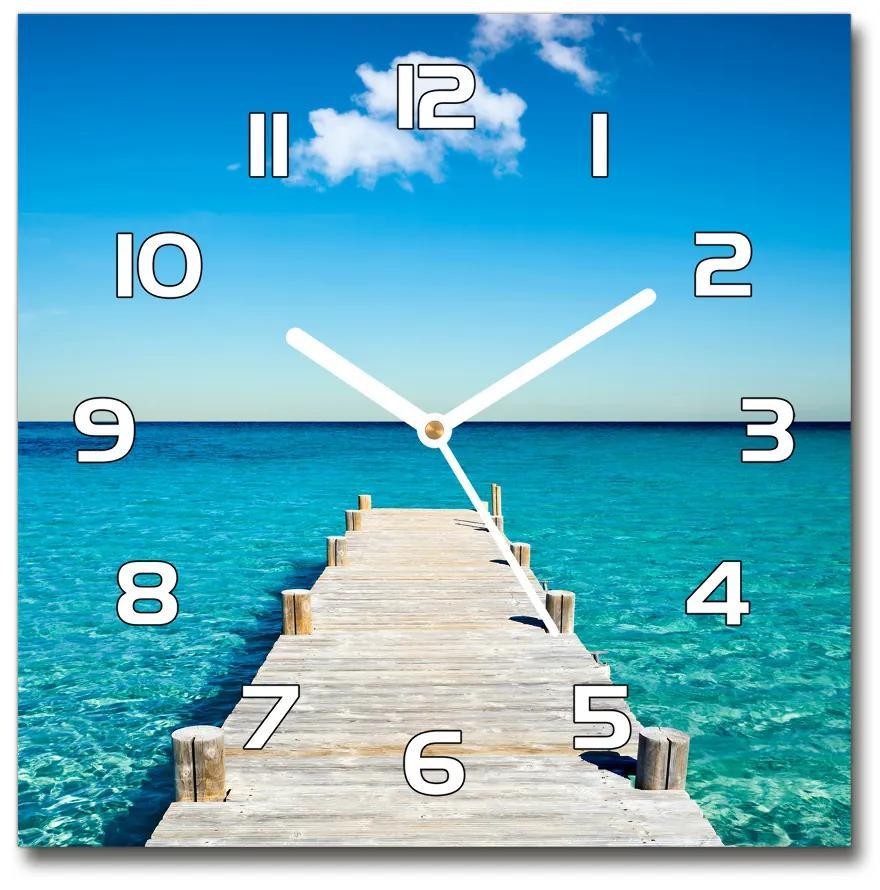 Sklenené hodiny štvorec Drevené mólo pl_zsk_30x30_f_36445541