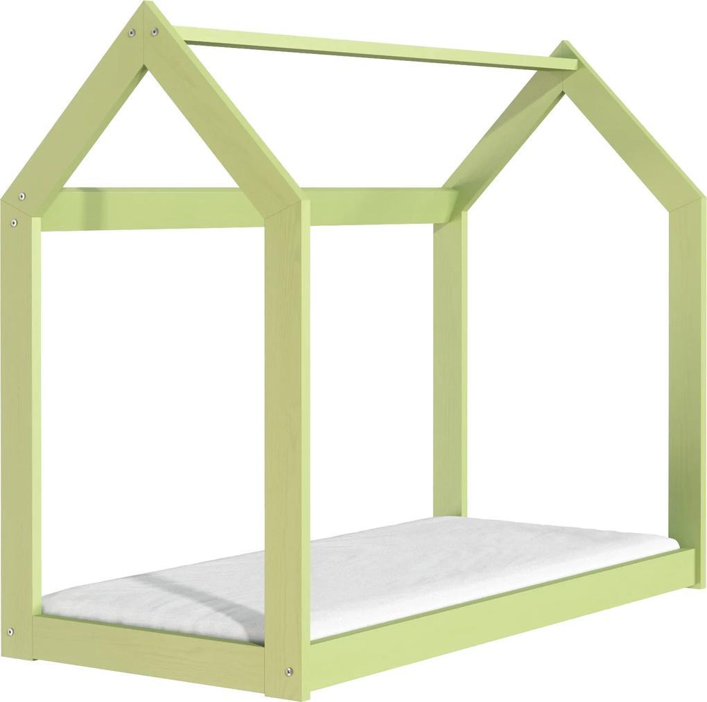 ČistéDrevo Drevená posteľ domček 160 x 80 cm zelená + rošt