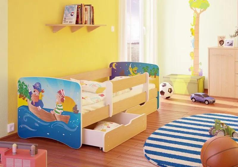 MAXMAX Detská posteľ PIRÁTI funny 180x90 cm - bez šuplíku 180x90 pre chlapca NIE