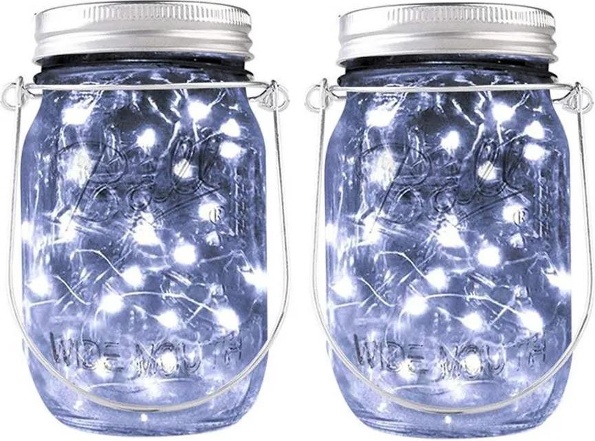 BEZDOTEKU LEDSolar solárne závesná vianočné poháre s reťazou studená biela 2 ks, iPRO, 1W, studená biela