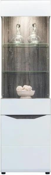 Sconto Vitrína LUCY LI 6 dub sonoma truffel/biela lesklá