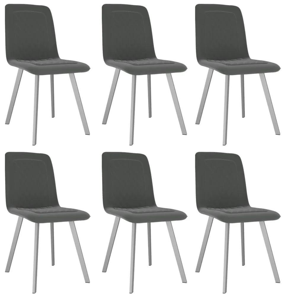 vidaXL Jedálenské stoličky 6 ks, sivé, zamat