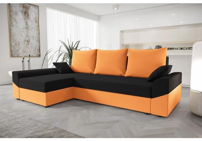 Elegantná rohová sedacia súprava DAGMAR - oranžová / čierna