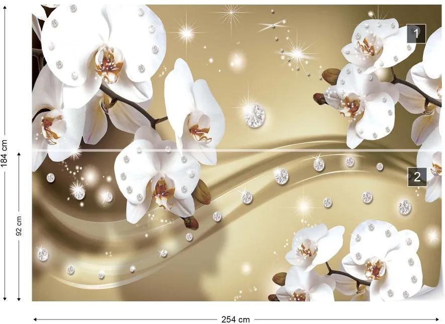 Fototapeta GLIX - Luxury Orchids And Diamonds V + lepidlo ZADARMO Vliesová tapeta  - 254x184 cm