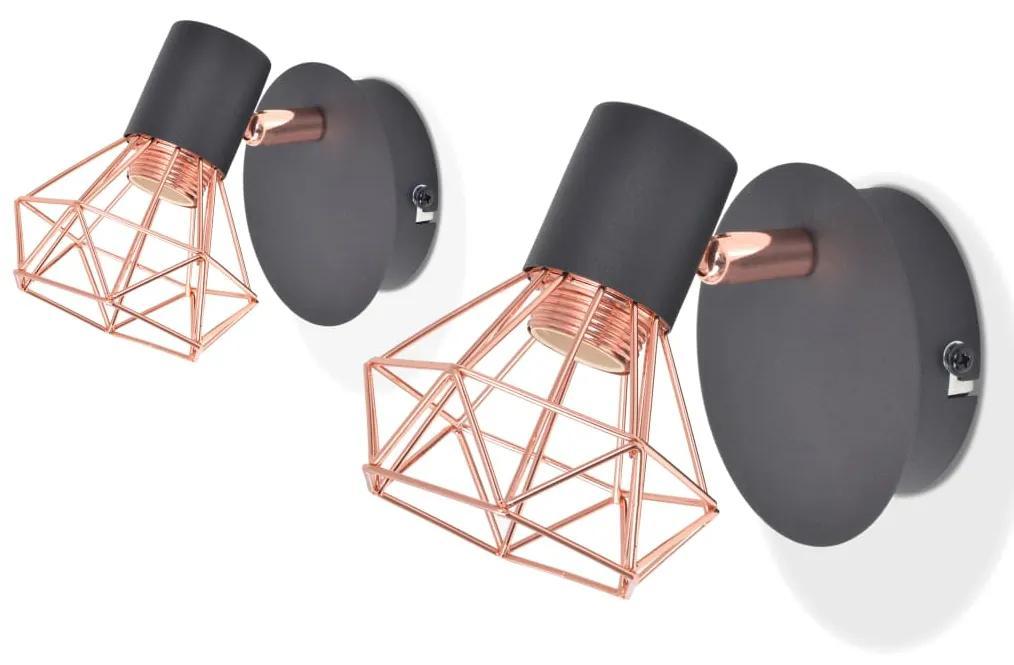 vidaXL Nástenné svietidlo, 2 ks, E14, čierno-medené