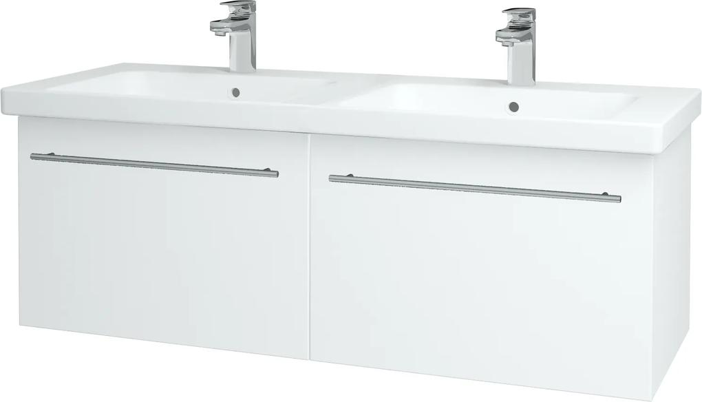 Dřevojas - Koupelnová skříň BIG INN SZZ2 125 - N01 Bílá lesk / Úchytka T02 / L01 Bílá vysoký lesk (23303B)