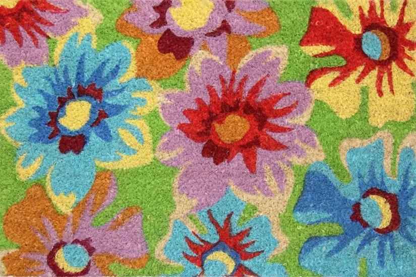 Rohožka Kokos barevná kytky - 40x60 cm