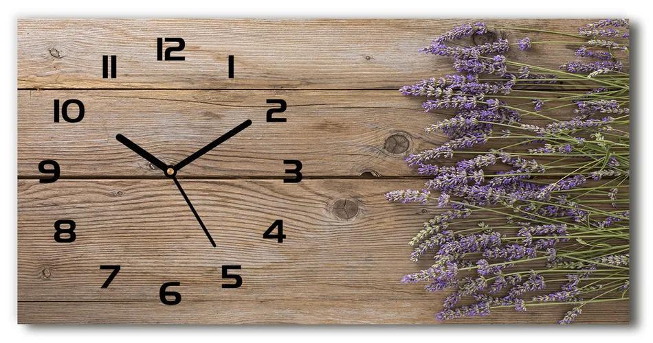 Sklenené hodiny na stenu Levanduľa na strome pl_zsp_60x30_f_85126180