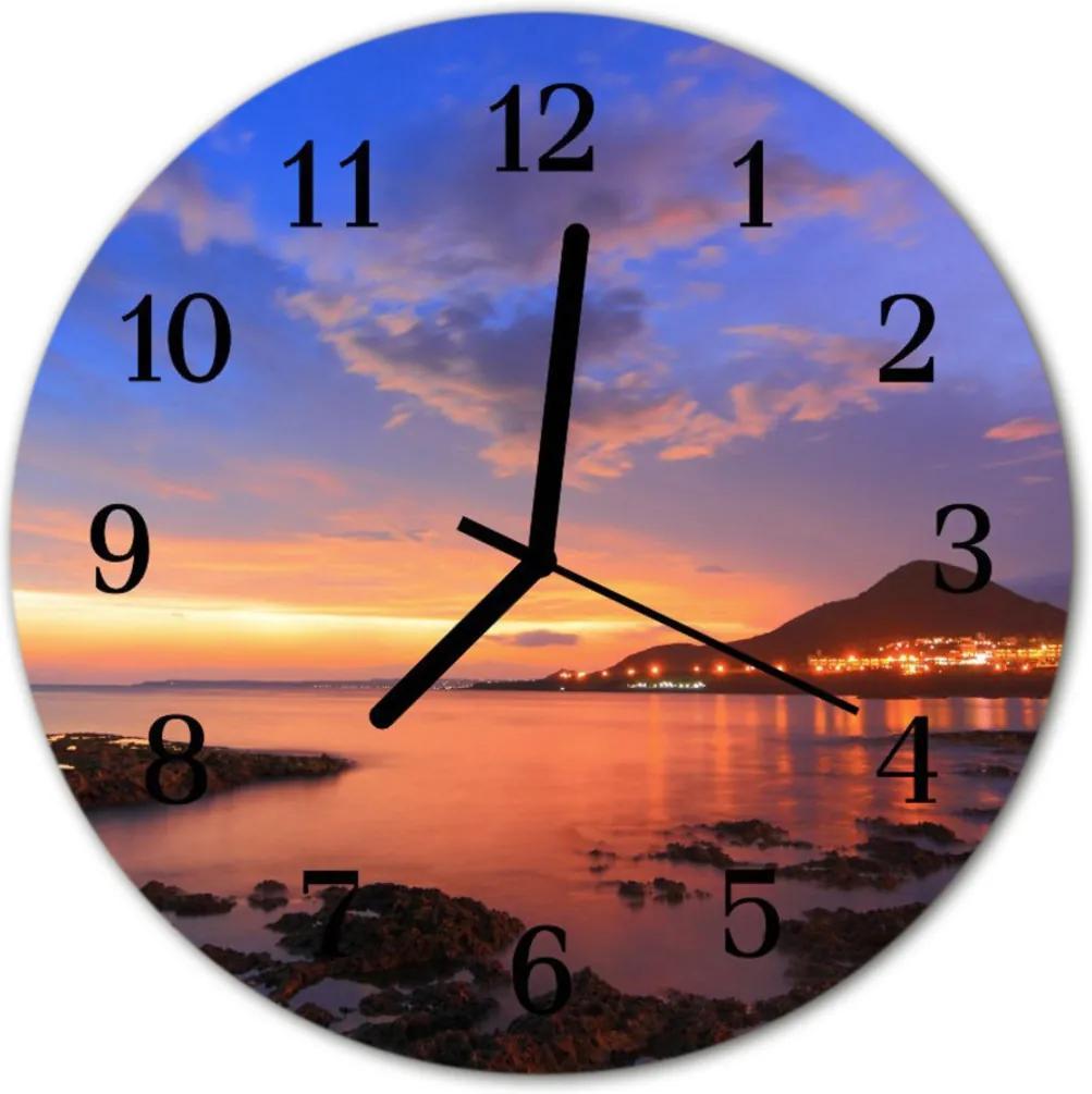 Skleněné hodiny kulaté Mořský ostrov
