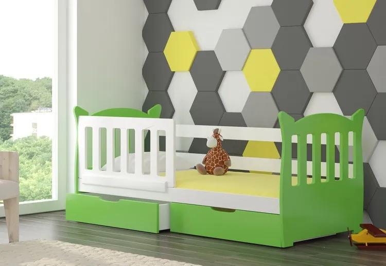 Detská posteľ Lekra, biela / zelená + matrace ZADARMO!