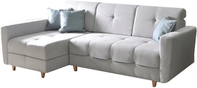 KONDELA Hakan L rohová sedačka s rozkladom a úložným priestorom svetlosivá / mentolová