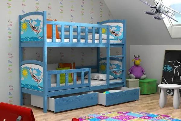 MAXMAX Detská poschodová posteľ z masívu s obrázkami 200x80cm so zásuvkami - PP010 200x80 pre chlapca ÁNO