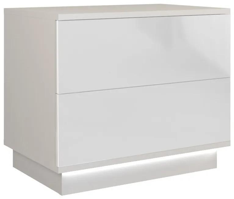Shoptop Nočný stolík Sela biely lesklý + LED osvetlenie