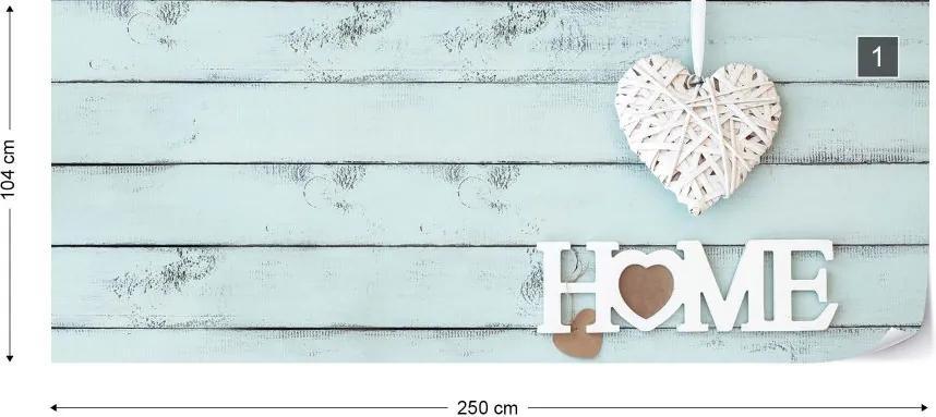 "Fototapeta GLIX - Vintage Chic ""Home"" Painted Wooden Planks  + lepidlo ZADARMO Vliesová tapeta  - 250x104 cm"