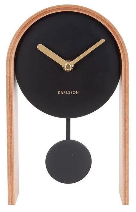 KARLSSON Svetlohnedé stolné hodiny Smart Pendulum
