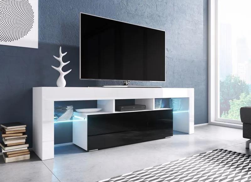Moderný TV stolík Targa 138cm, biela / čierny lesk