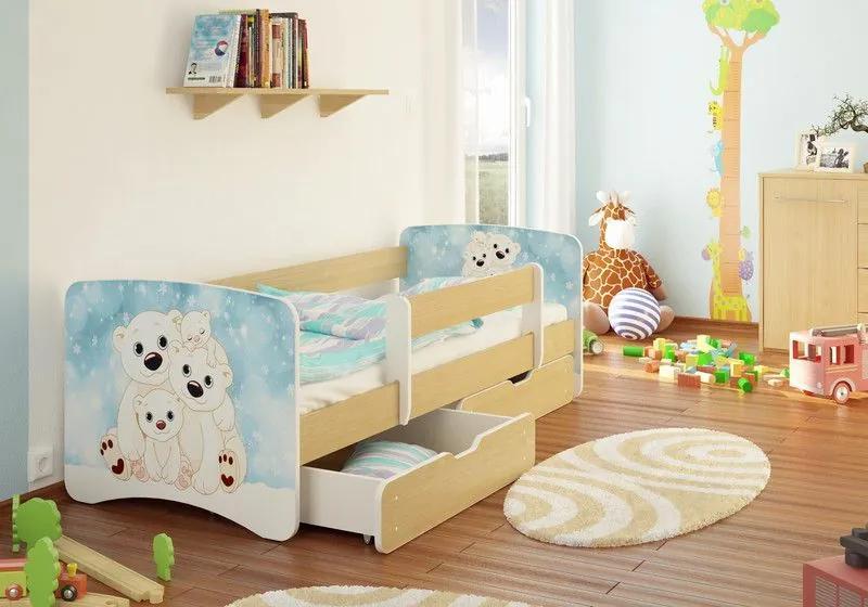 MAXMAX Detská posteľ LEDNÍ MEDVÍDCI funny 180x90 cm - sa zásuvkou 180x90 pre všetkých ÁNO