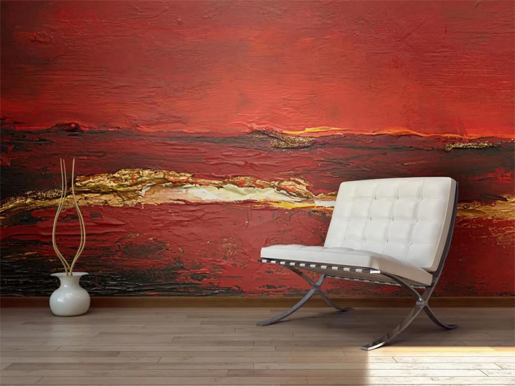 Murando DeLuxe Tapeta zlatočervená malba 150x116 cm