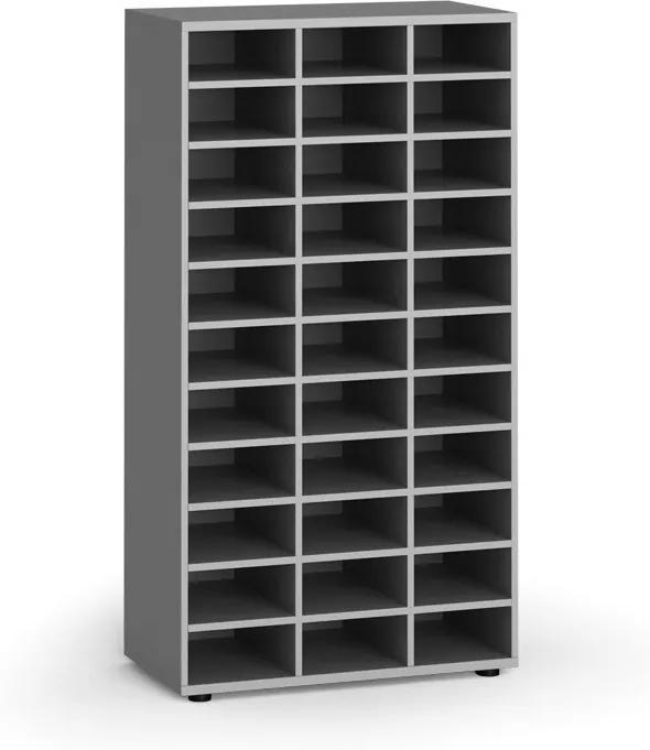 Triediaci regál, 800 x 400 x 1497 mm, 36 priehradiek, sivý