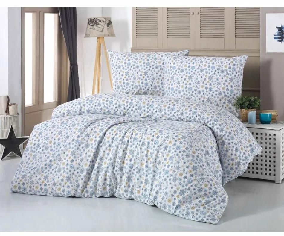 Kvalitex Bavlnené obliečky Vločka modrá, 140 x 200 cm, 70 x 90 cm