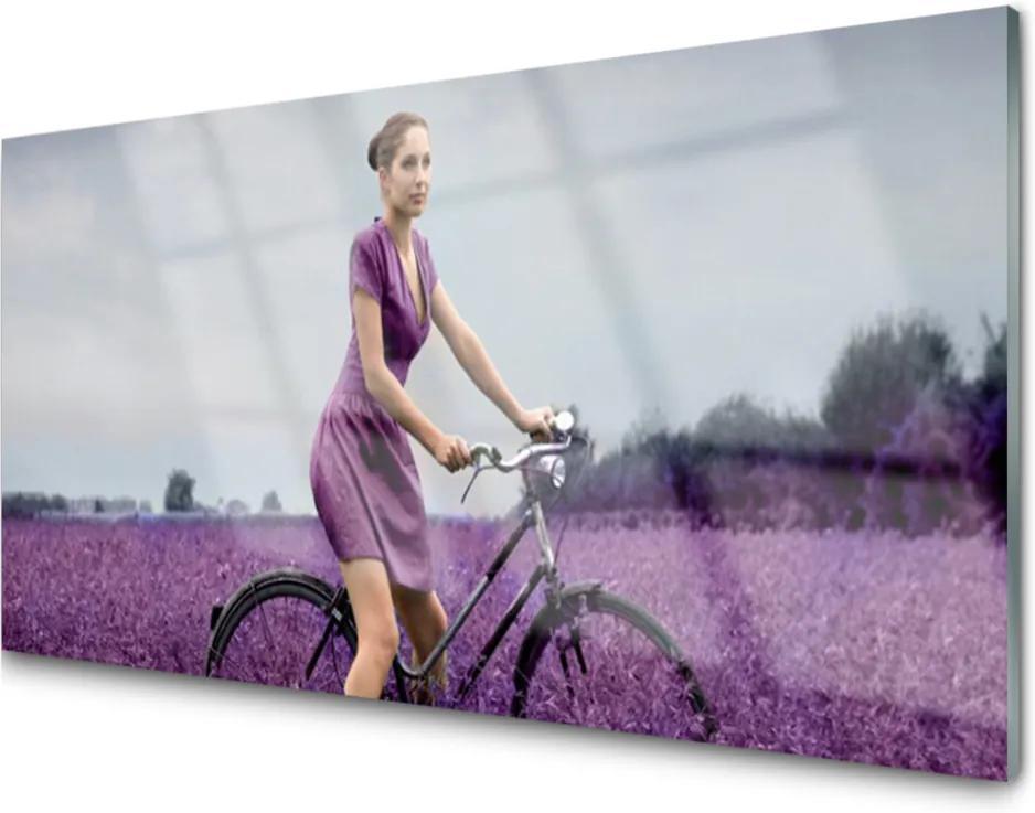 Plexisklo obraz Žena kolo louka člověk