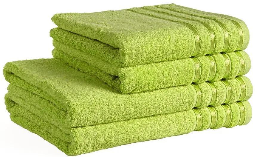 Škodák Uterák / osuška z bambusového vlákna Pásiky - zelená 139 - Malý uterák 30 x 50 cm