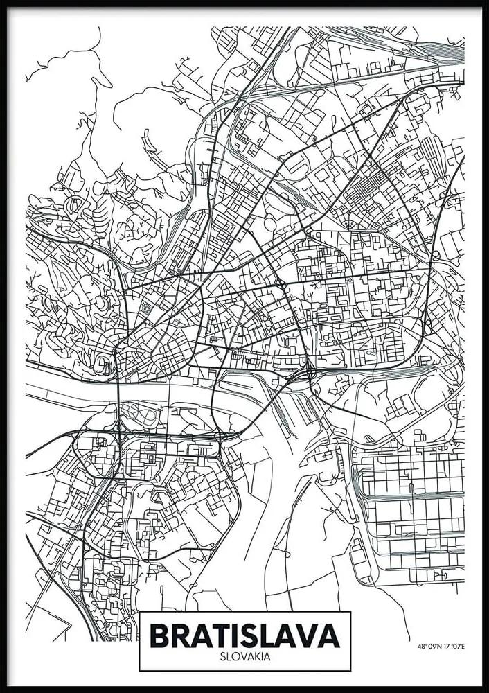 Nástenný plagát v ráme MAP/BRATISLAVA, 50 x 70 cm