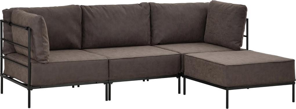 [en.casa]® Pohovka / sedacia súprava - variabilná 3 miestna s podnožkou - koženka - tmavo hnedá