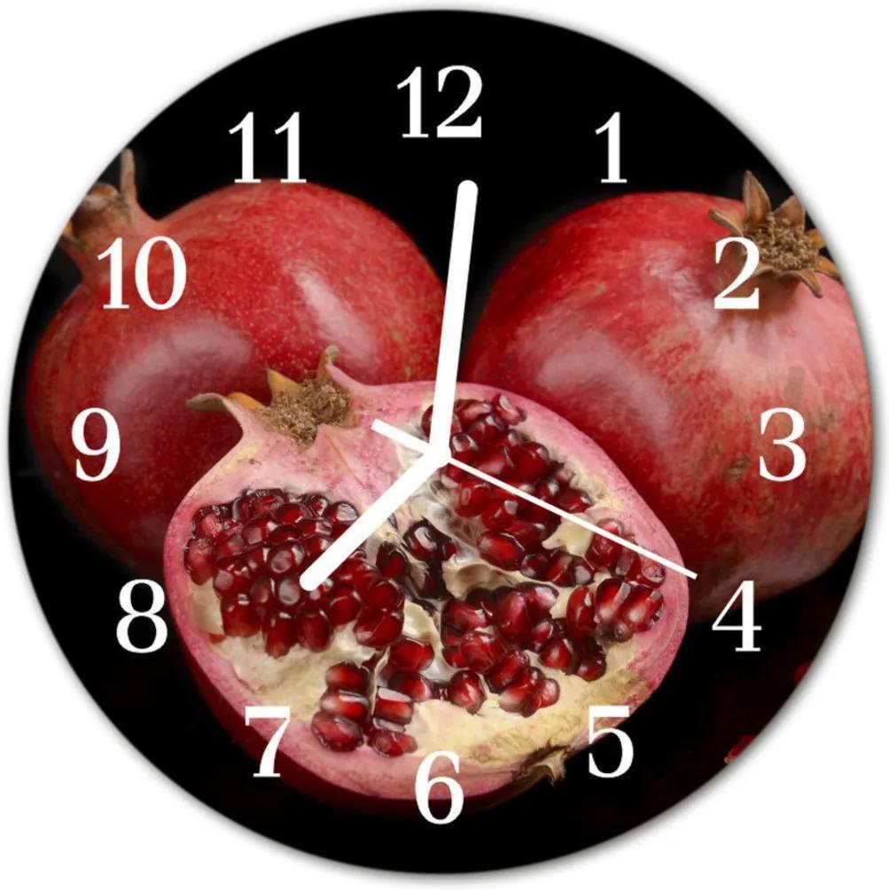 Nástenné skleněné hodiny granát