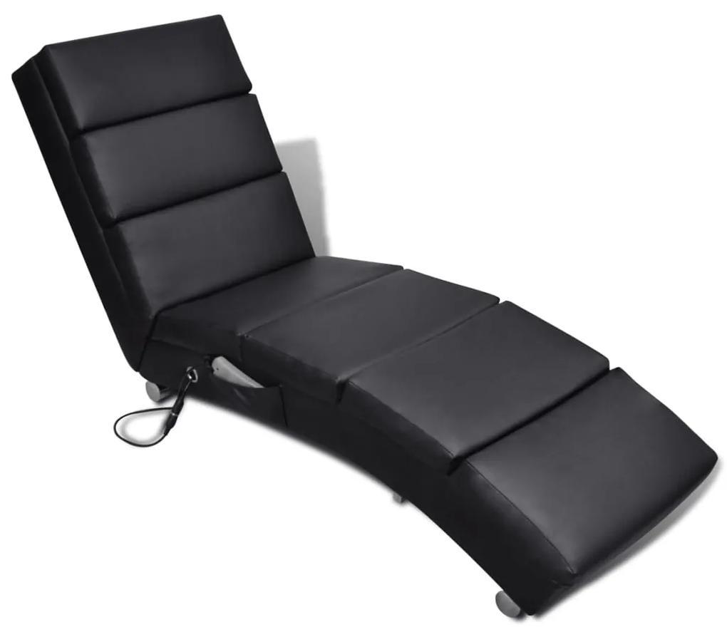 vidaXL Sklápacie masážne kreslo, čierne, umelá koža