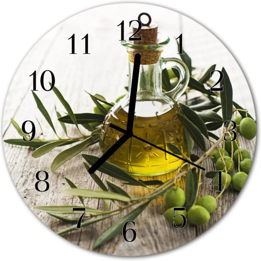 Skleněné hodiny kulaté Olivový olej