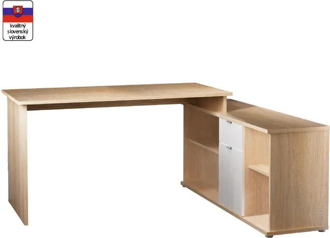 Písací stôl, dub sonoma/biela, DALTON NEW VE 02