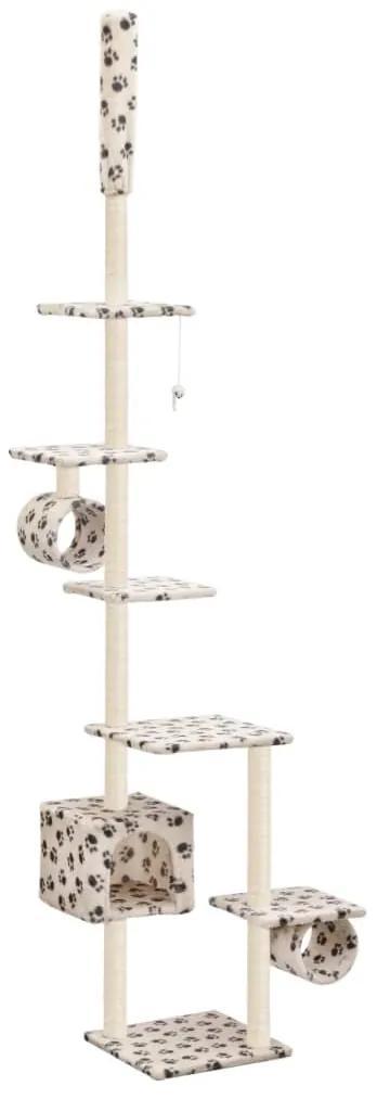 vidaXL Škrabadlo pre mačky, sisalové stĺpiky 260 cm, béžové s labkami
